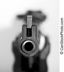 schwarz, sport, pistole, geleitet, zu, ein, objektiv