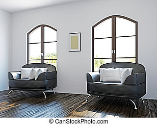 schwarz, stühle, livingroom
