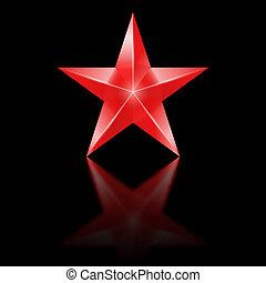 schwarz, stern, roter hintergrund