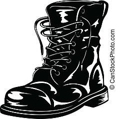 schwarz, stiefel, armee