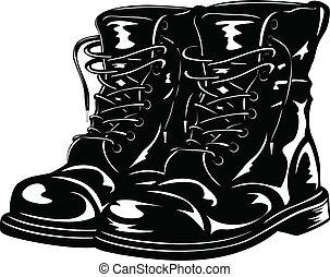 schwarz, stiefeln, armee