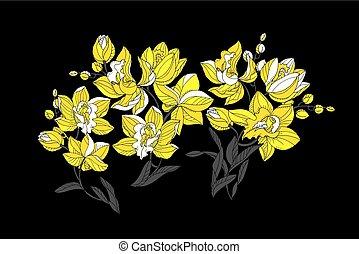 schwarz, stil, orchidee, modern, gelber , farben