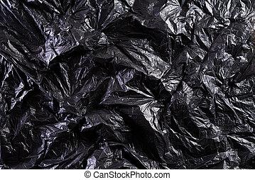 schwarz, tasche, beschaffenheit, tag, hintergrund., ansicht, plastik, natürlich, umwelt, verkleinerung, treatment., verwerten wieder, welt, concept., oberseite, säcke