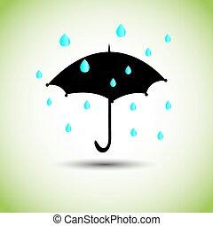 schwarz, tropfen, schirm, regen