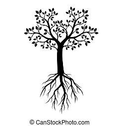 schwarz, vektor, baum, illustration., roots.