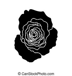 schwarz, vektor, silhouette, rose, ikone