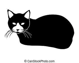 schwarz, vektor, silhouette, von, liegen, katz
