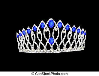 schwarz, wedding, krone, tiara, frauen