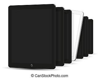 schwarz weiß, edv, tablet., 3d, vektor, abbildung