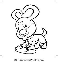 schwarz weiß, junger hund, zeichen, begraben, der, knochen, in, der, yard., vektor, abbildung, freigestellt, weiß, hintergrund.