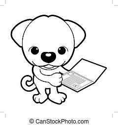 schwarz weiß, junger hund, zeichen, gleichfalls, besitz, a, rasse, registry., vektor, abbildung, freigestellt, weiß, hintergrund.