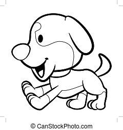 schwarz weiß, junger hund, zeichen, running., vektor, abbildung, freigestellt, weiß, hintergrund.