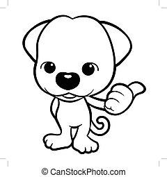 schwarz weiß, junger hund, zeichen, thumbed, auf, a, gesture., vektor, abbildung, freigestellt, weiß, hintergrund.