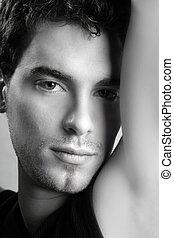 schwarz weiß, junger mann, stehen porträt