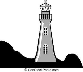 schwarz weiß, leuchturm