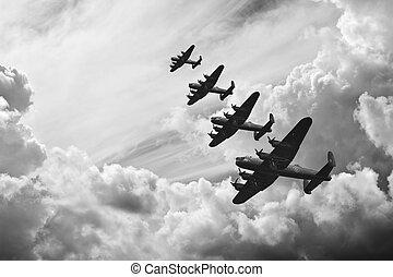 schwarz weiß, retro, bild, von, batttle, von, britannien, ww2, flugzeuge