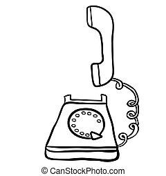Weisses Schwarzes Telephon Buero Karikatur Buro Telefon Schwarz