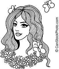 schwarz weiß, vektor, illustration., schöne , m�dchen, mit, blumen, und, vlinders