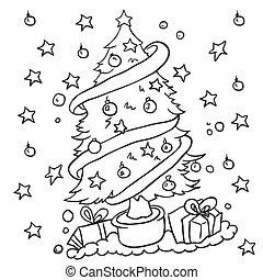 Einfache Schwarz Weißes Baum Weihnachten Einfache Baum