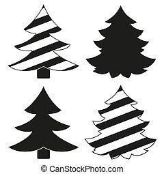 Weihnachtsbaum Schwarz Weiß.Schwarz Weißes Baum Weihnachten Schwarz Weißes Baum Karikatur