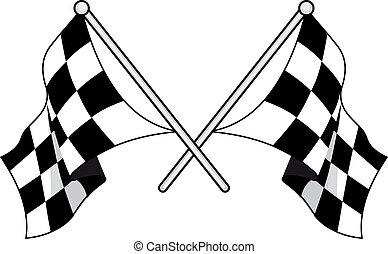schwarz, weißes, checkered, flaggen, gekreuzt