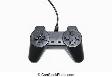schwarz, weißes, controller, hintergrund, spiel, freigestellt