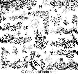 schwarz, weißes, elemente, design
