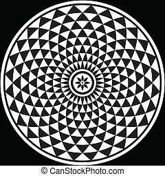 schwarz, weißes, fractal, kreisförmig