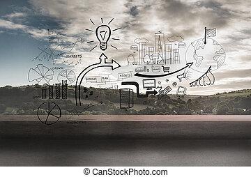 schwarz, weißes, grafik, aus, landschaftsbild, hintergrund