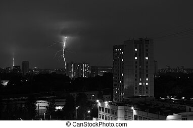 Schwarz, weißes, himmelsgewölbe, Blitz