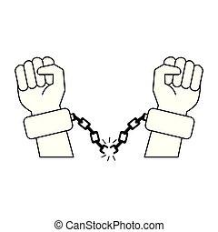 schwarz, weißes, kettenglieder, karikatur, hände