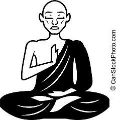 schwarz, weißes, meditieren, mönch