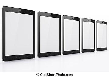 schwarz, weißes, tabletten, hintergrund