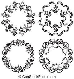 schwarz, weißes, version, design, elem