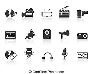 schwarz, werkzeuge, ikone, multimedia