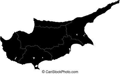 schwarz, zypern, landkarte