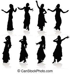 schwarze frau, silhouette, belly, tanzt