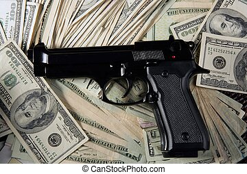 schwarze gewehr, pistole, dollar, notizen