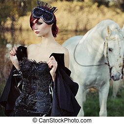 schwarze königin, mit, riesig, rein, schimmel