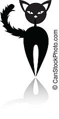 schwarze katze, silhouette