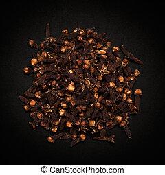 schwarze oberseite, organische , clove., ansicht