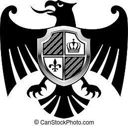 schwarzer adler, mit, silber, schutzschirm