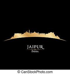 schwarzer hintergrund, indien, skyline, jaipur, stadt, silhouette
