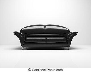 schwarzer hintergrund, isoliert, 3d, weißes sofa