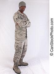 schwarzer mann, in, militärische uniform