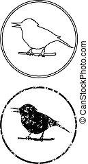 schwarzer vogel, zweig, ikone