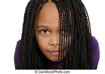 schwarzes kind, zöpfe, junger