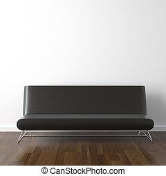 schwarzes leder, couch, weiß