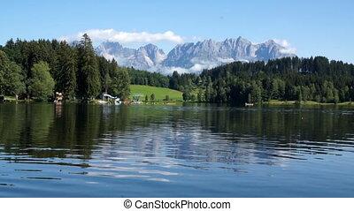 Schwarzsee, panoramic view of Austrina lake in Tirol
