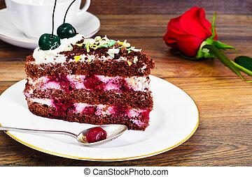 Schwarzwald Cake, Whipped Cream, Black and White Chocolate,...